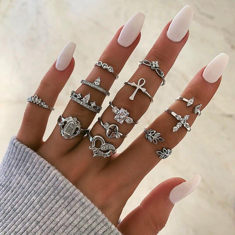 Docona 14 шт. в винтажном стиле; С украшением в виде кристаллов крест кольца в форме сердец, комплект ювелирных изделий для женщин серебристый ли...