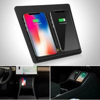 Qi Wireless Fast Charger Car Pad Mat Dual USB Fit For Tesla Model 3 2017 2019