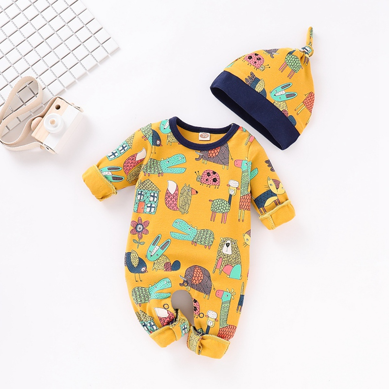 2pcs Autumn Baby   Rompers  +Hat Newborn Boys Girls Jumpsuits Long Sleeve Infant Bebes   Romper   Cotton Toddler Kids Outfits 0-18Months
