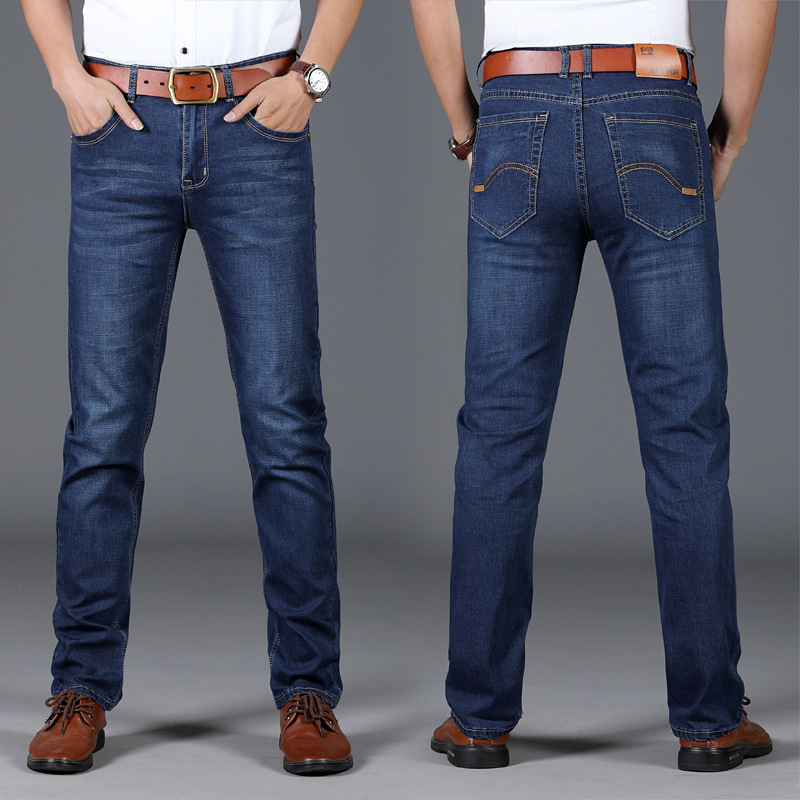 2019 Spring And Summer New Style Jeans Men's Simple Business Straight-Cut Jeans Youth Stretch Denim Trousers