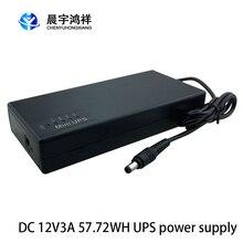 Bateria alternativa ininterrupta da fonte de alimentação para o preto 162x73x29mm 12v3a 57.72wh mini ups do roteador da câmera