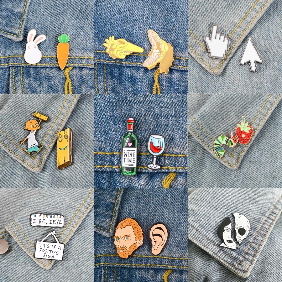 2 pièces/ensemble broches et épingles vin temps PS AI curseur icône Animal ensemble artiste noël lumières émail broches Badges dessin animé bijoux