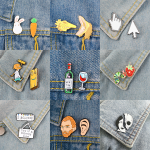 2pcs/set Brooches and Pins Wine time PS AI Cursor icon Animal set Artist Christmas Lights Enamel Pins Badges Cartoon Jewelry(China)