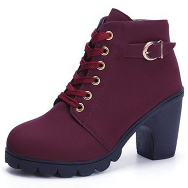 Winter Women Ankle Boots High Chunry Heel Fur Plush Rubber Platform Metal Buckle Zipper Punk Sexy Black Ladies Shoes Botas Mujer 4