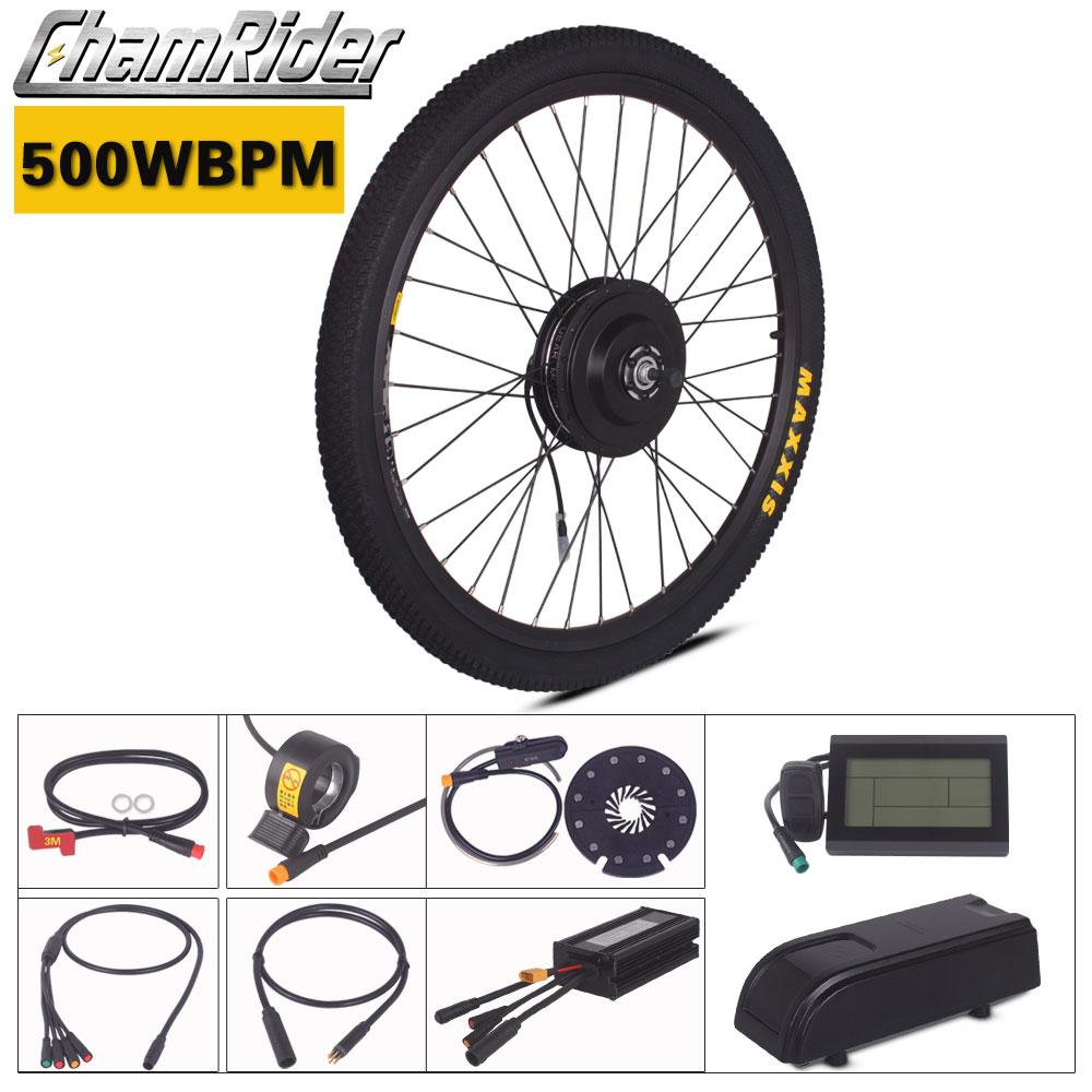 Chamrider 500W Ebike Kit 36V 48V Electric Bike Conversion Kit Julet Waterproof Connector Plug MXUS BPM Motor LCD3 Display