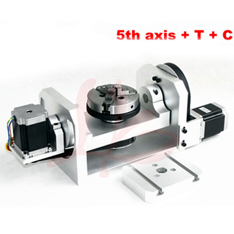 LY Cnc Parts 5 Axis For Cnc Router Machine A / B Axis Rotary Rotation Axis With Chuck With Table