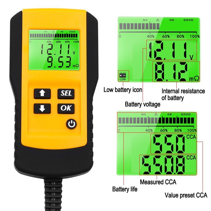 Tools : 12V Car Battery Tester Vehicle Car LCD Digital Battery Test Analyzer Auto System Analyzer Voltage ohm CCA Test Diagnostic Tool