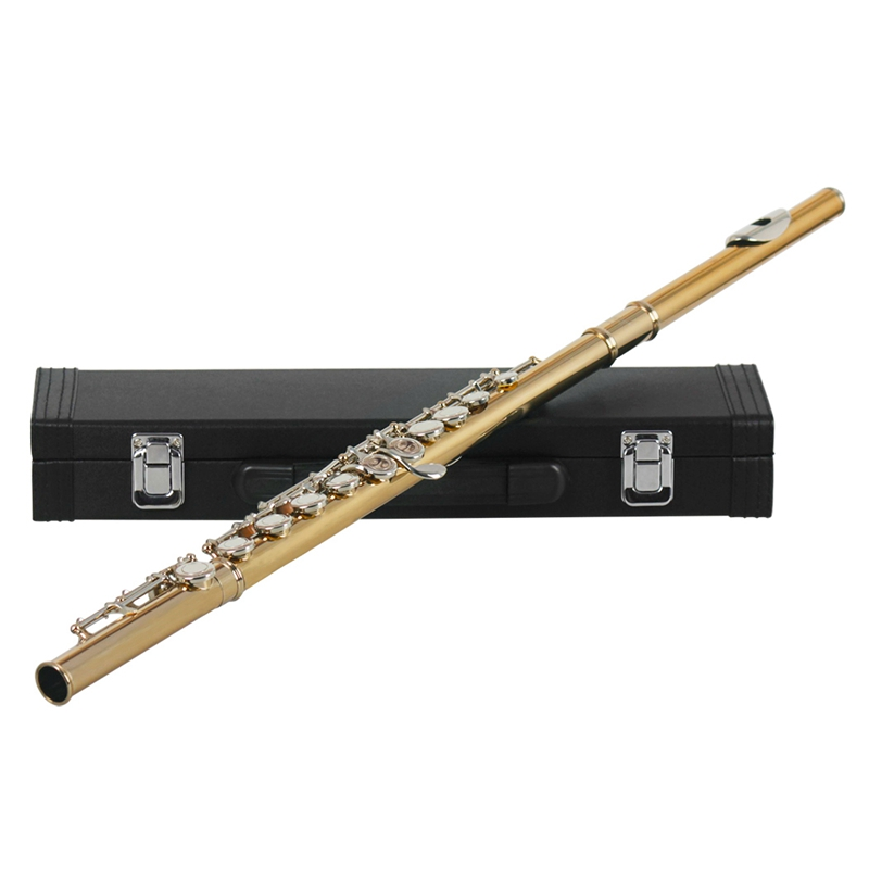 16 Holes C Key Western Concert Flute Woodwind Instrument with Cleaning Cloth Stick Gloves Padded Case