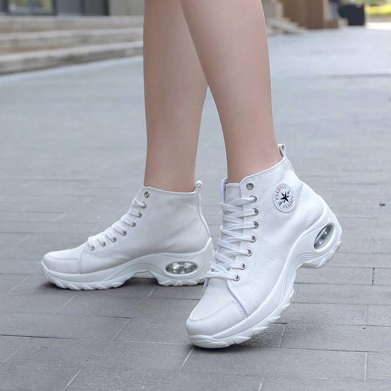 Tıknaz kadınlar için spor ayakkabı moda nefes kanvas ayakkabılar hava yastığı artan dantel-up yürüyüş spor ayakkabı