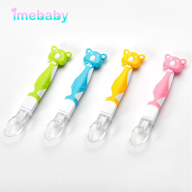 Imebaby Silicone Spoon Baby Things For Feeding Newborns Food Supplement Training Spoons Safety Silicone PP Spoon