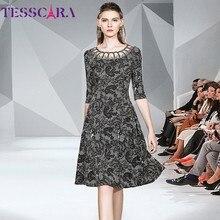TESSCARA Women Spring Elegant Print Dress Festa Female Ladies Office Party Robe High Quality Mesh Designer Cocktail Vestidos