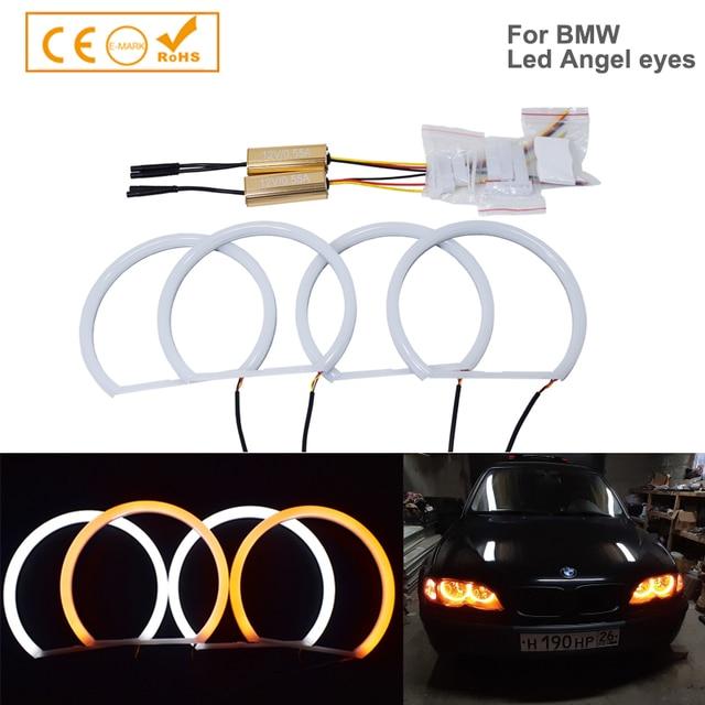 4pcs Dual color White Yellow LED Angel Eyes Halo Ring Lighting Kit For BMW E46 3 Series Non HID Headlights 323i 325i 328i 330i