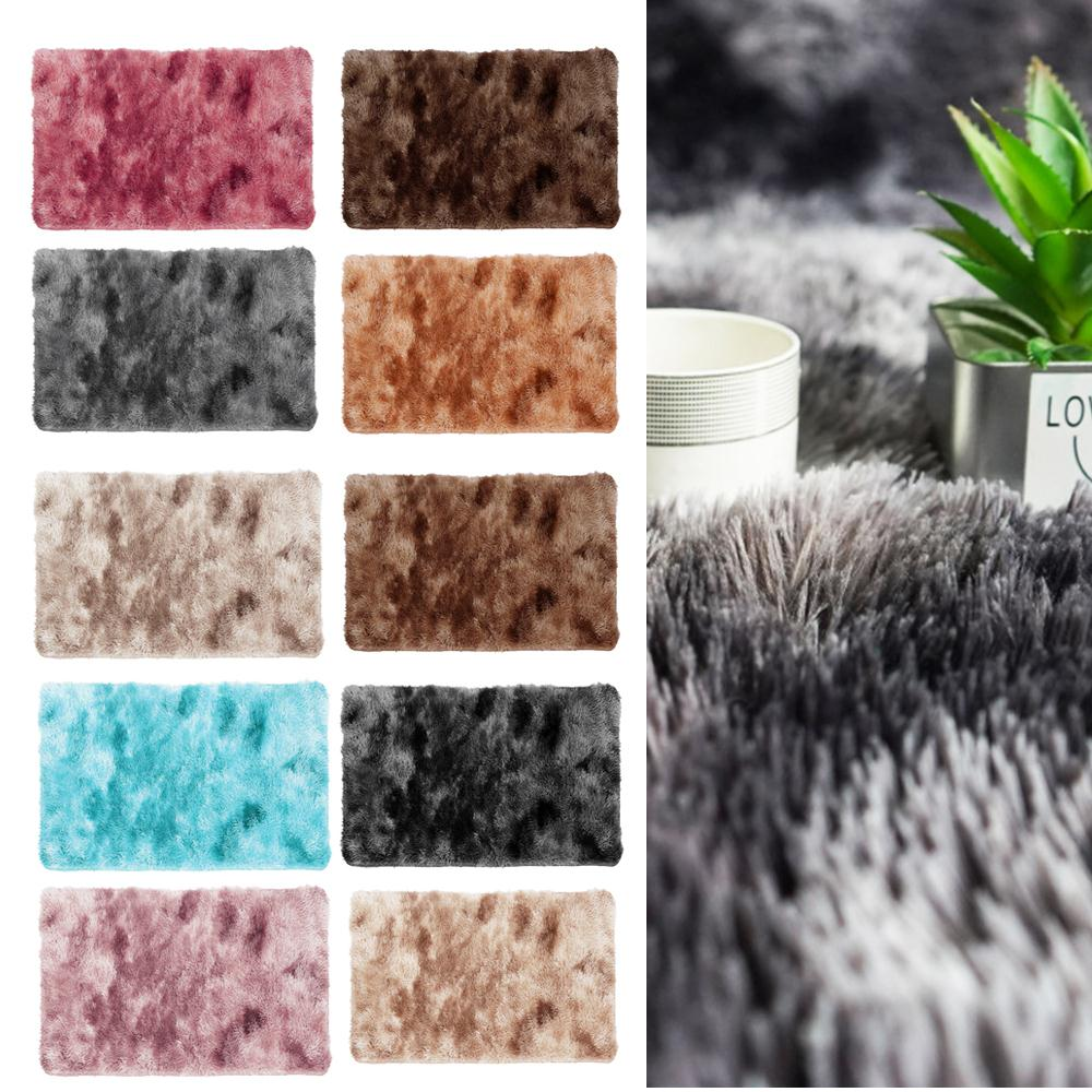 Warm Multicolored Fluffy Rugs Area Rug Mat Bedroom Hotel Sofa Anti-Skid Polyester Fiber 60x40cm Floor Home Decoration