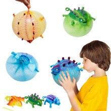 Funny soprando ventilação animal quebra brinquedo meninos inflável dinossauro bola crianças brinquedos balão de água squeeze novidade festa brinquedos para crianças