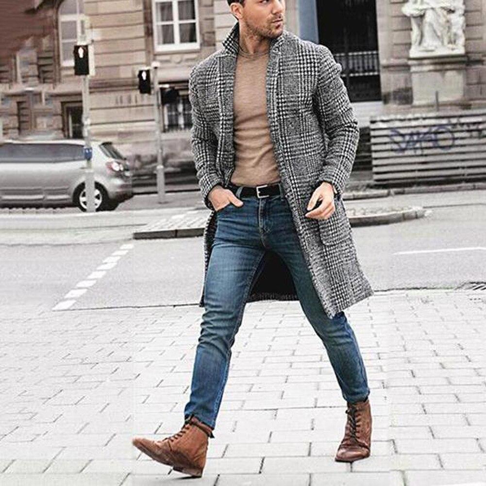 2019 Fashion Men's Winter Warm Long Style Overcoat Male New Black White Plaid Wool Coat Outwear Plus Size
