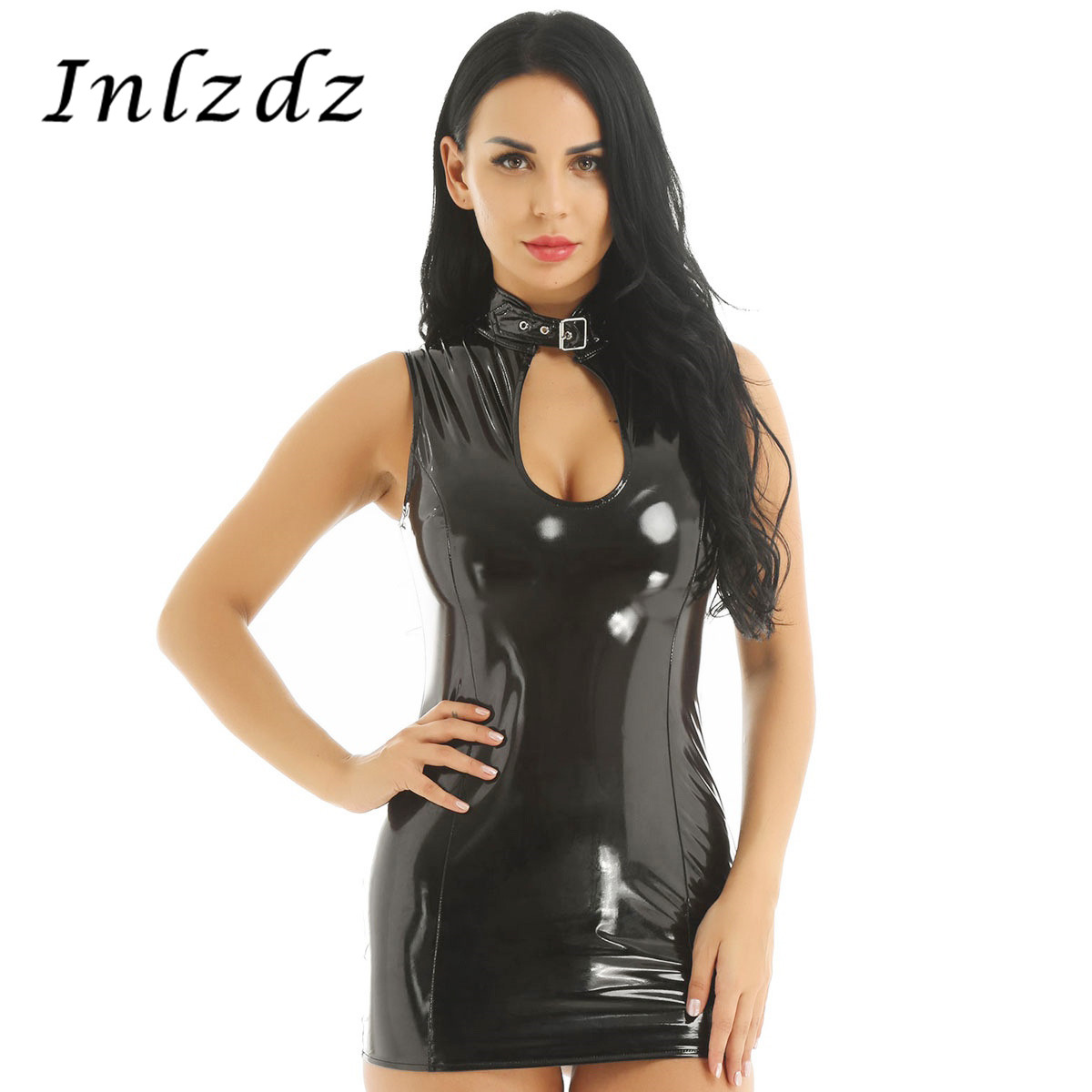 Hot Sexy Latex Dress For Adult Women Patent Leather Lingerie Tube Latex Dress Uniforms Fetish Latex Sexual Clothing For Sex