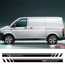 Saia lateral da porta do carro listras adesivos para volkswagen vw transporter t5 t6 auto corpo de corrida decoração gráfica acessórios do carro vinil