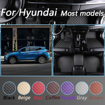 Luxurious Leather Car Floor Mats For Hyundai santa fe getz tucson ix25 creta elantra kona i30 leather all models Custom Made image