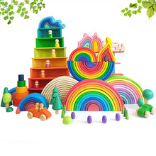 Grands blocs de construction en bois arc-en-ciel empilage créatif haute Balance bricolage jouets éducatifs en bois cadeaux pour enfants garçon fille chaude