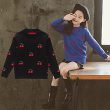 New 2019 Spring Autumn Design Baby Girls Pullover Sweater Cherry Pattern Sweet Children Tops Clothing 4-13Y