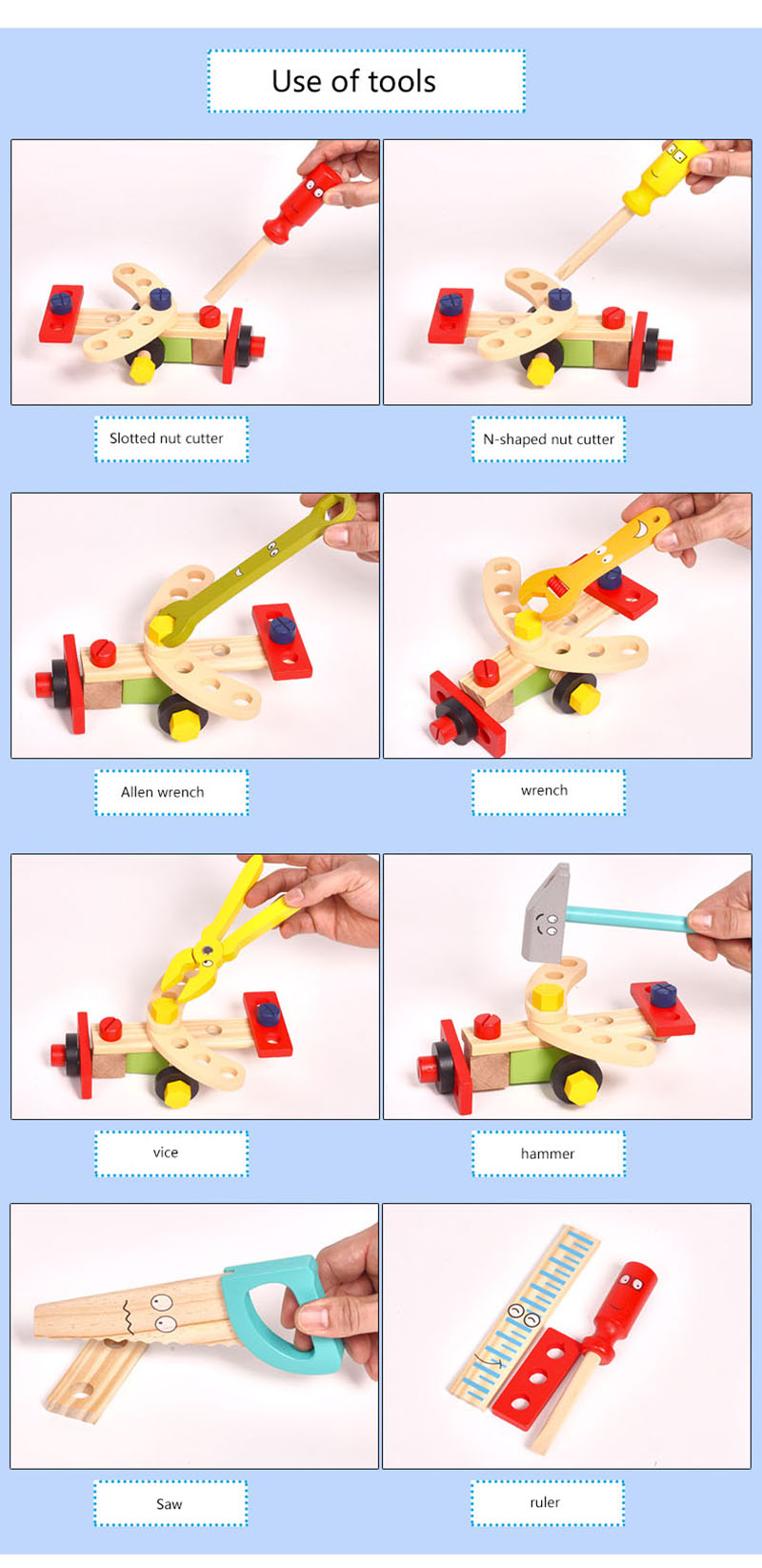 Kids Wooden Toolbox Pretend Play Set Educational Montessori Toys Nut Disassembly Screw Assembly Simulation Repair Carpenter Tool 9