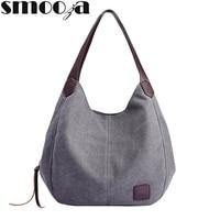 SMOOZA Casual Leinwand Schulter Tasche Frauen 2020 Totes Taschen Frauen Tasche Große Kapazität Hohe Qualität Handtasche Mode Wilden Damen Taschen