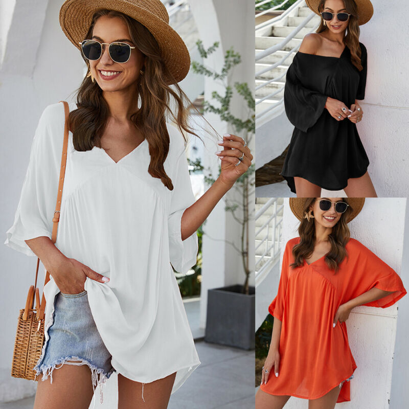 2020 Women Casual Loose Sexy Half Sleeve V-neck Tops Shirts White Loose Oversized Casual Top Shirts Blouses