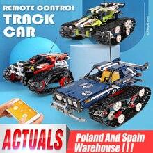 DHL teknİk serisi RC Track uzaktan kumanda yarışı araç seti yapı taşları tuğla eğitici oyuncak uyumlu çocuk hediye