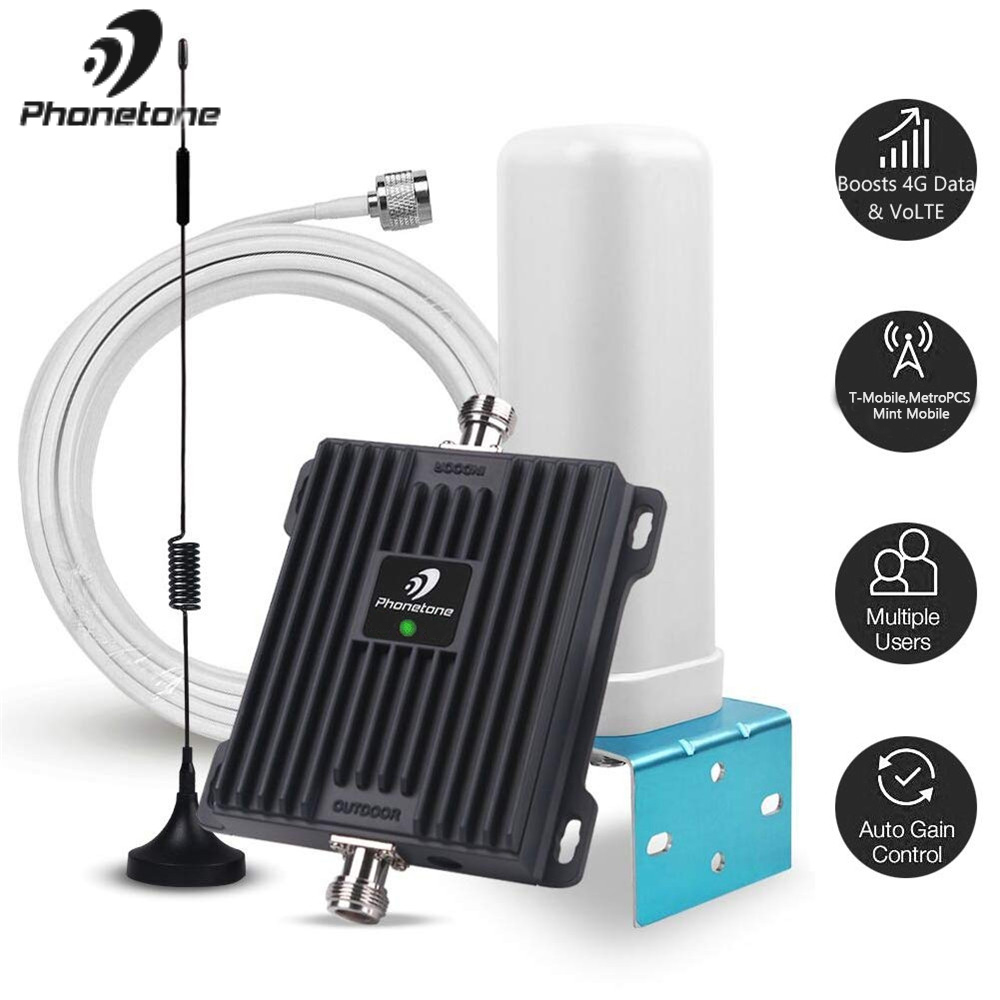 Cell Phone Signal Booster For Home And Office 1700MHz Band 66/4 Cell Phone Repeater Boost 4G LTE Voice And Data For T-Mobile