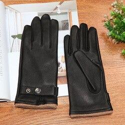 2020 gants en cuir véritable homme haute qualité épais noir peau de daim gants classique mode hiver chaud laine tricoté doublé DQ107