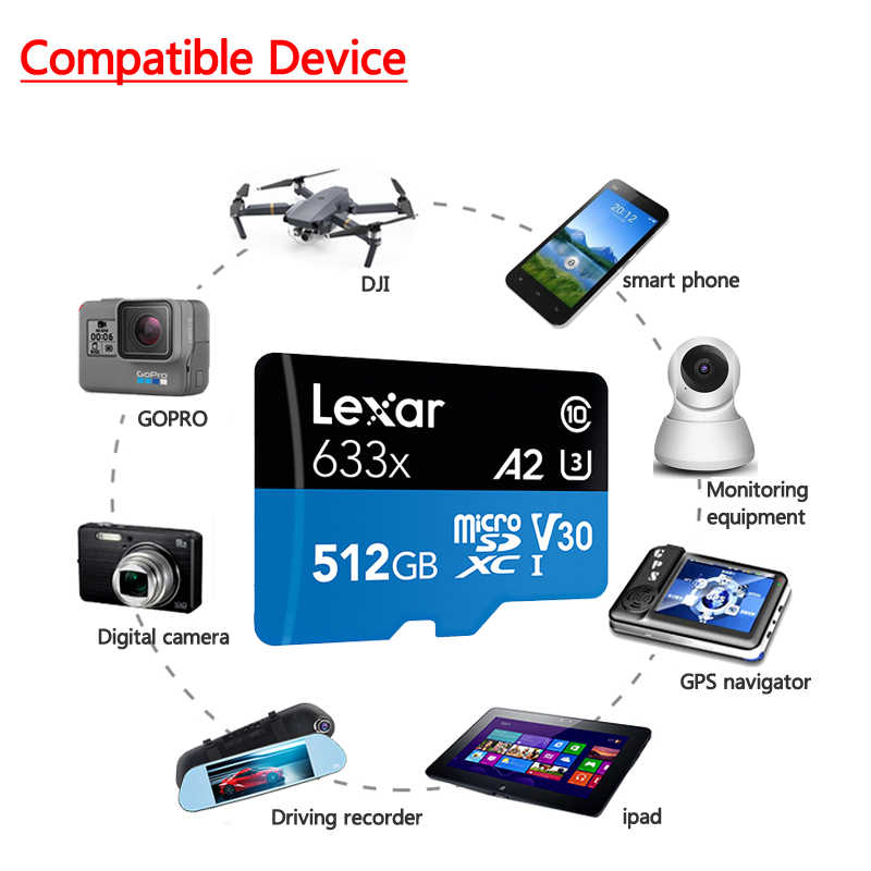 Lexar 633x carte Micro SD carte mémoire Gopro carte Micro SD 512gb carte mémoire Flash cartes hautes performances 633x MicroSDHC UHS-I