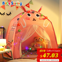 Baby Shining Baby Play House Play Tent Lights Playpen Tipi Play House 130cm with Window Pocket Cotton Mat Boy Girl Birthday Gift