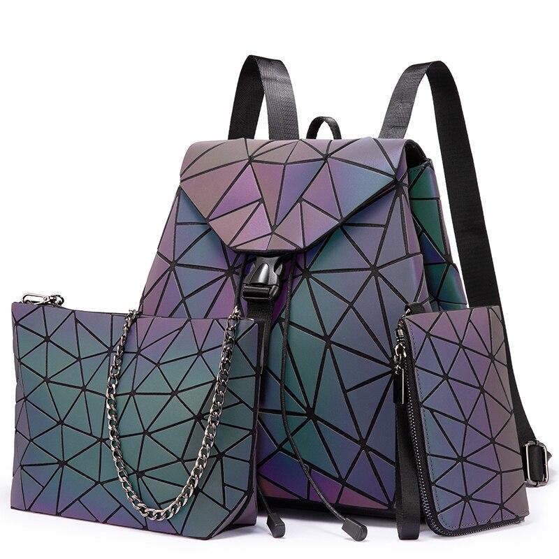 Women Backpack Schoolbag For Girls Foldable Crossbody Bag For Ladies Bag Set 3 Pcs Clutch And Purse Geometric Bag Luminous Color