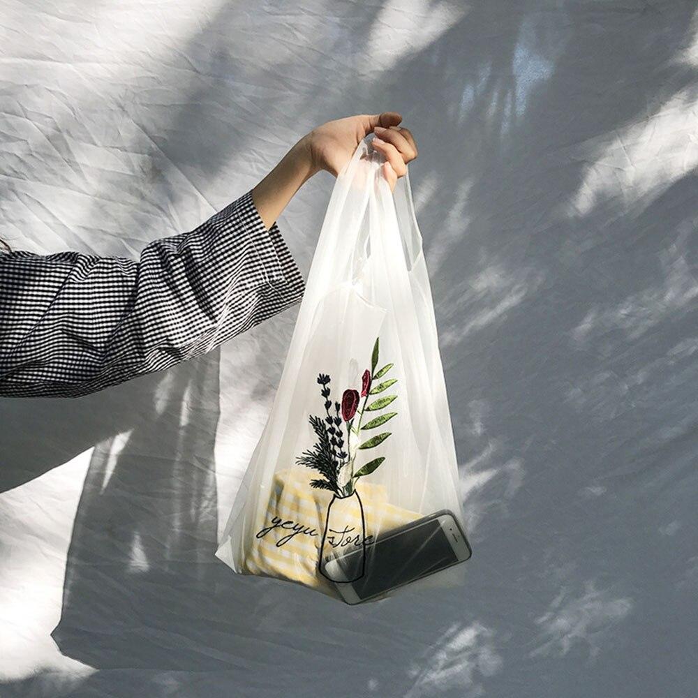 1.05US $ 17% OFF Women Transparent Tote Organza Yarn Cloth Beach Bag Embroidery Handbag High Quality...