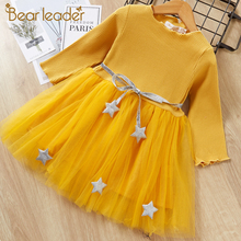 Bear Leader Autumn Long Sleele Grils Dress 2016 New Casual Style Girls Clothes Cartoon Rabbit Print for Kids 3-7Y