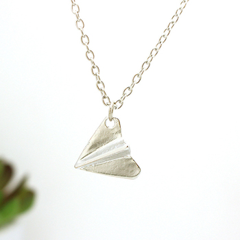 Harry Style Paper Airplane Pendant Necklace Jewelry Chain Collar Choker Necklace Initial Tassel Trendy Metal Necklace image