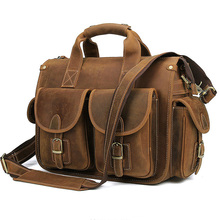 Handbags Laptop Briefcase Messenger-Bag Designer Retro 14inch Men MAHEU for Genuine-Leather