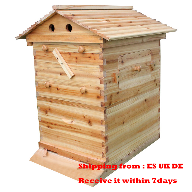 Automatic Beehive House With 7PCS Flow Comb Honey Wooden Beehive Frames Plastic Beekeeping Harvesting Tubes Kit Beekeeper Tools
