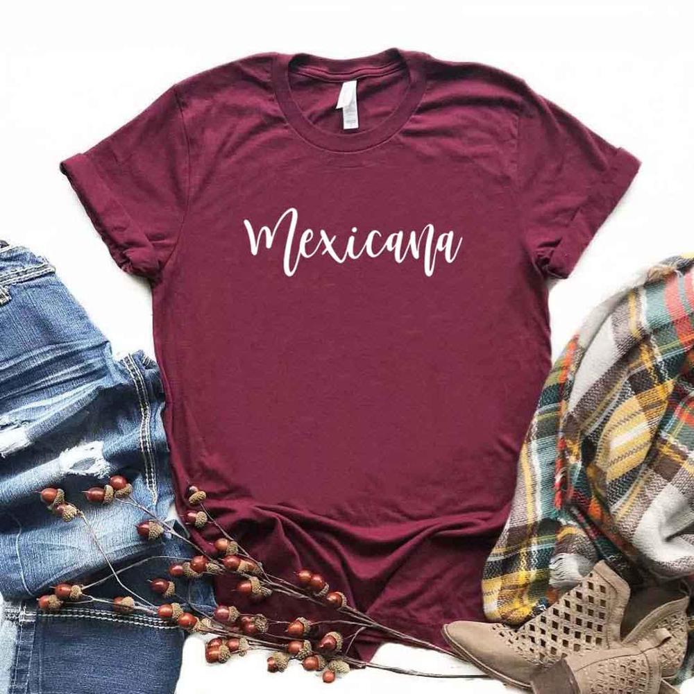 Mexicana latina Impressão Mulheres Camisetas de Algodão Casual Camisa Engraçada de t Para Lady Top Tee Hipster 6 Cor NA-681