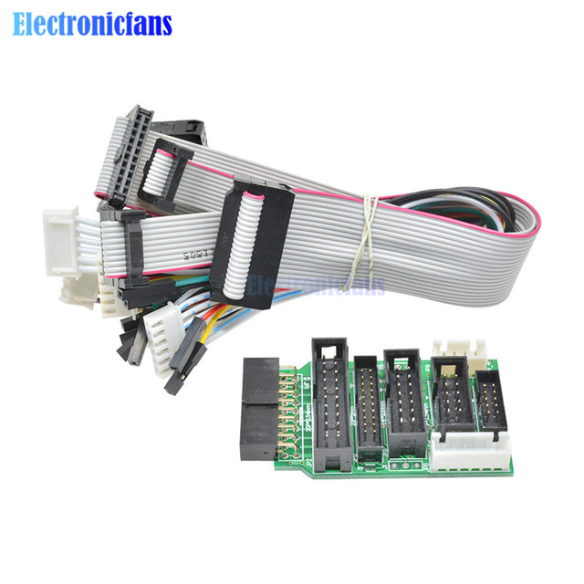 Emulator V8 JTAG Adapter Converter for J-Link with 8PCS 4 Pin 6 Pin 10 Pin 20 Pin Grey Flat Ribbon Data Cable Dupont Wire