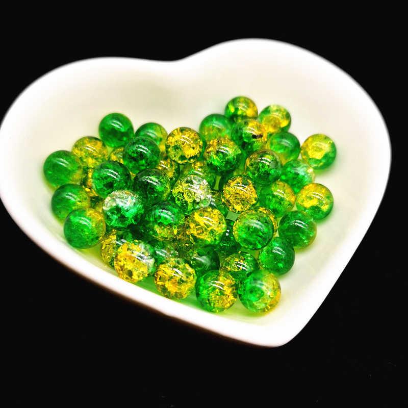 50 Uds 8mm cuentas espaciadoras coloridas dobles abalorios con grietas para hacer joyas hechas a mano DIY