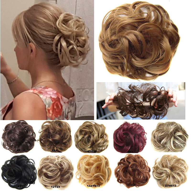 Bun-Pad Hairpiece Chignon Rubber-Band Donut-Hair Elastic Messy Gary Brown Color Synthetic