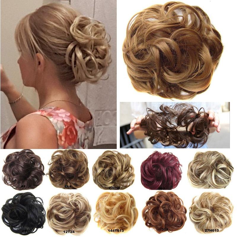 Jeedou спутанный шиньон, Подушечка для пучка волос, эластичная резинка для волос, синтетический шиньон, серо-коричневый цвет