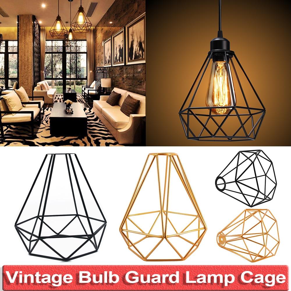 Vintage Lampe Schatten Moderne Retro Käfig Metall Lampe Schutz DIY Anhänger  Beleuchtung Industrielle Schwarz Metall Draht Für E20 E20 Buchse d20