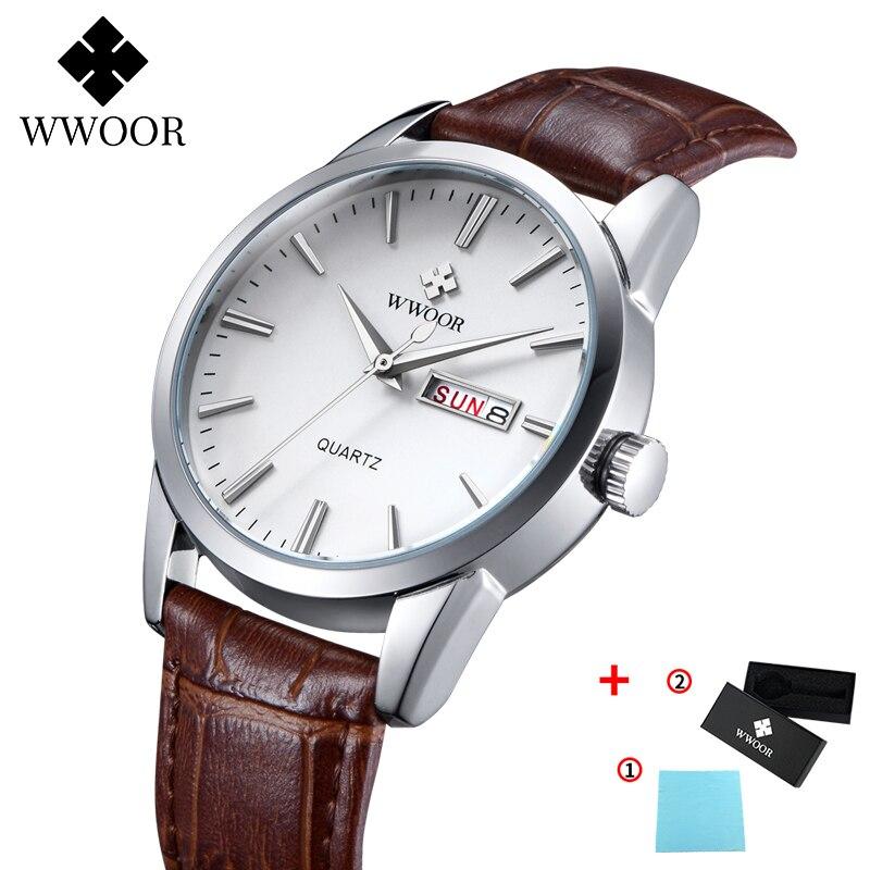 Men's Watch Luxury Top Brand WWOOR Waterproof Date Fashion Leather Quartz Clock Male Business Casual Watch Men Montre Homme 2020