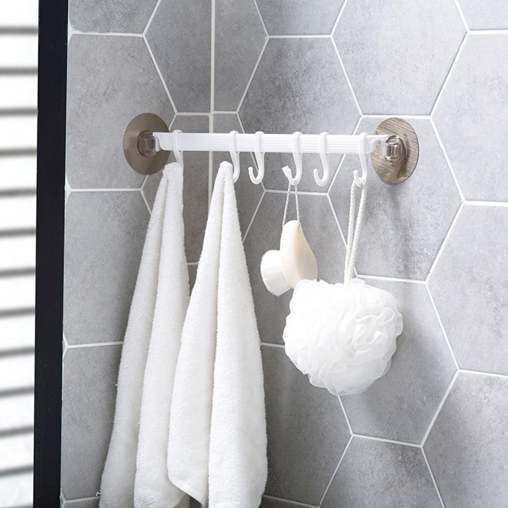 Wall Corner Adhesive Hook Kitchen Cabinet Hook Bathroom Accessories Storage Strong Sticky 6 Hooks Up Wall Rails Towel Shelf Rack