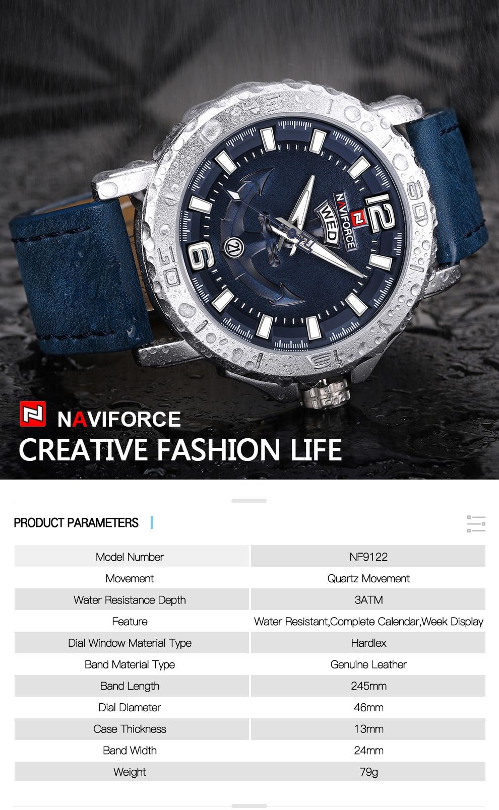 H75a808a212ab48908a8d7e8876e57d87b Top Luxury Brand NAVIFORCE Mens Sport Watches Casual Leather Strap Waterproof Military Quartz WristWatch Clock Male Reloj Hombre
