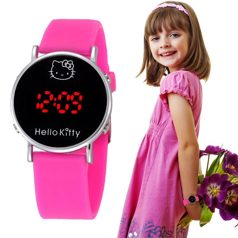 Fashion Boys Girls Silicone Digital Electronic Watch For Kids Hello Kitty Cartoon Children Student  Watch Relógios Femininos
