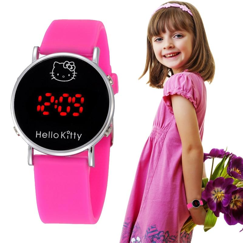 Fashion Boys Girls Silicone Digital Electronic Watch For Kids Hello Kitty Cartoon Children Student  Watch Relógios Femininos