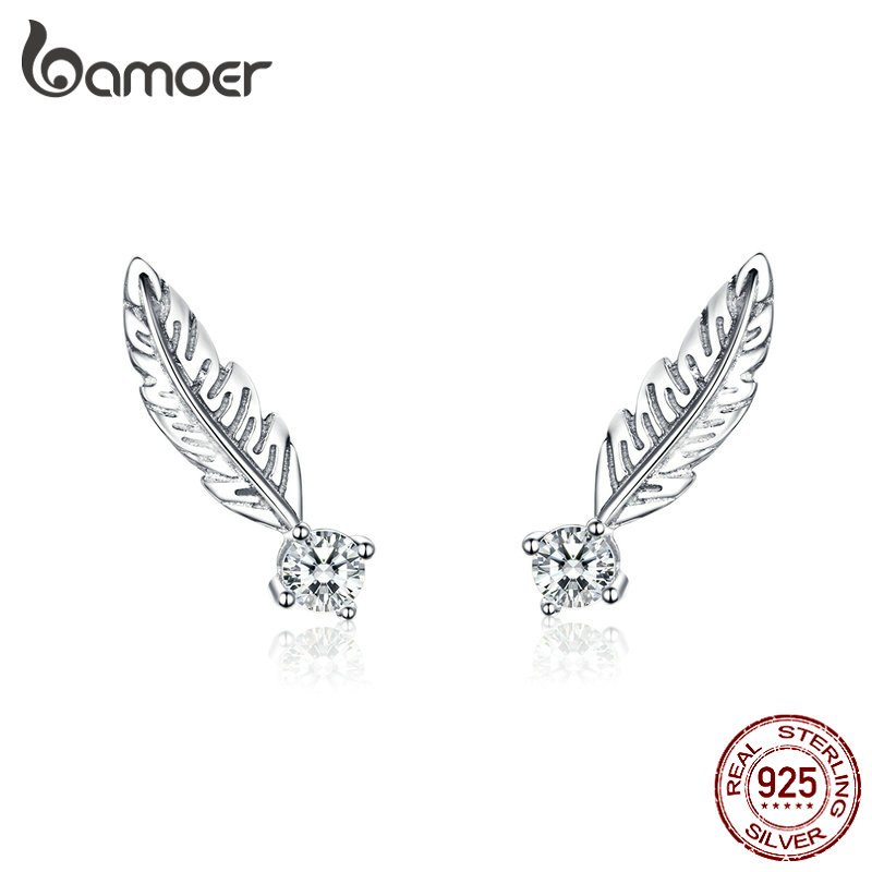 BAMOER Small Feather Stud Earrings For Women Boho Style Summer Jewelry 925 Sterling Silver Studs Jewelry Anti-allergy SCE610